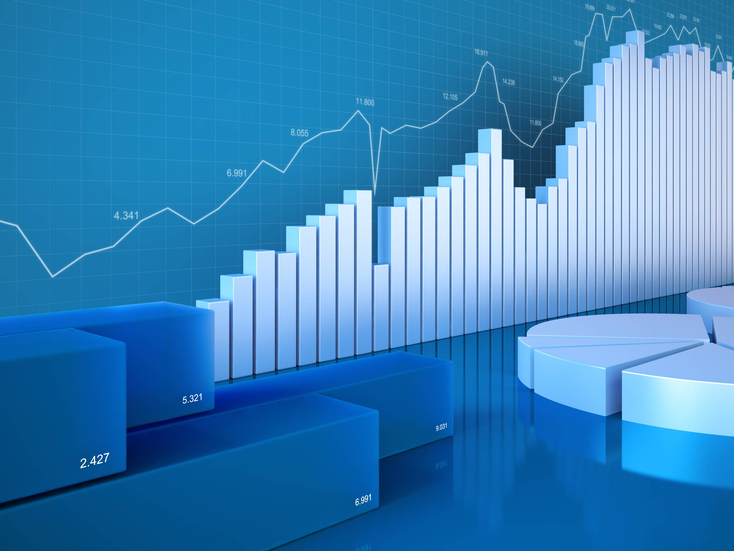 Statistics, Finance, Stock Exchange and Accounting business. 3D Graph, Diagram, chart. Financial annual report illustration