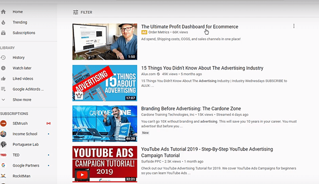 TrueView Discovery Video Ads are embedded on YouTube's watch pages and search results